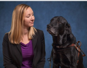 Blogger with her guide dog